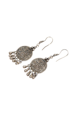 Tribal Symbol Droplet Silver Earrings