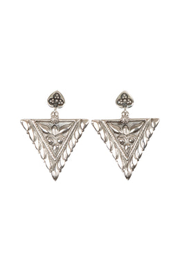 Ornate Tribal Point Silver Earrings