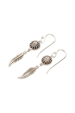 Disc & Feather Droplet Silver Earrings
