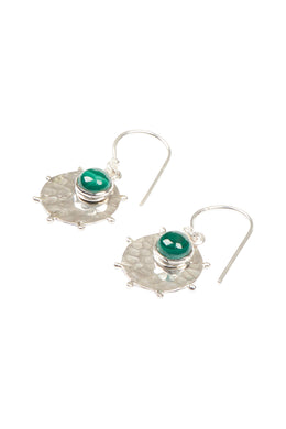 Pebbled Disc & Gem Silver Earrings