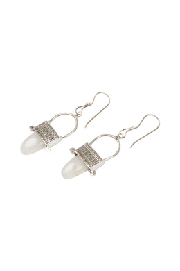 Etched Nomad Talisman Silver Earrings