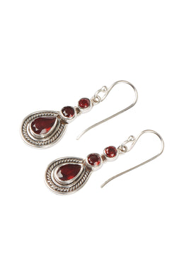 Three Gem Garnet Teardrop Etched Silver Earrings
