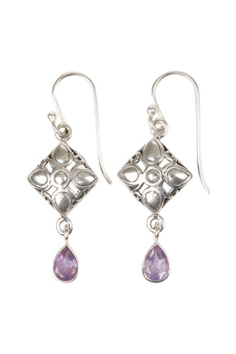 Tribal Cushion Droplet Silver Earrings