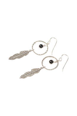 Pebbled Ring & Feather Silver Earrings