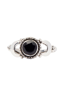 Crescent Moon Edge Silver Ring