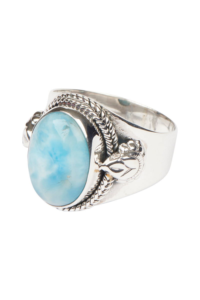 Oval Larimar Tribal Dot Edge Silver Ring