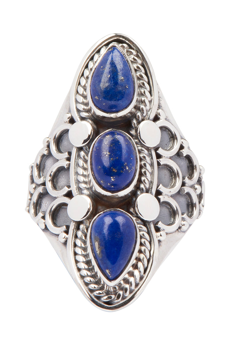 Tribal Three Gem Silver Ring