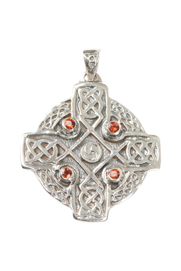 Garnet Celtic Cross Silver Pendant