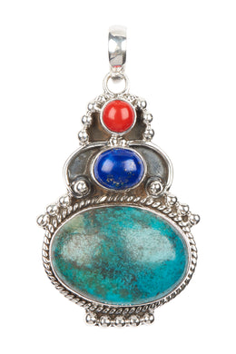 Tribal Three Gem Silver Pendant