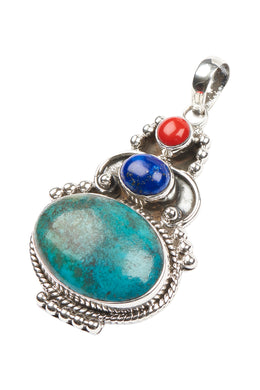 Tribal Three Gem with Turquoise Silver Pendant
