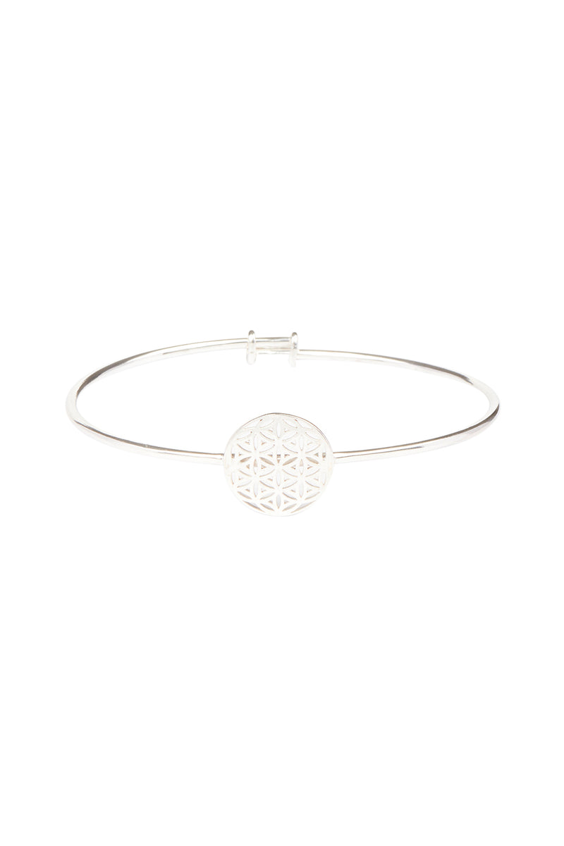 Seed of Life Adjustable Silver Bangle