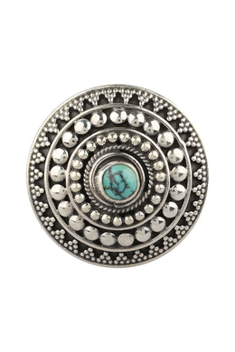 Adjustable Turquoise Round Shield Silver Ring