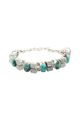 Mixed Gems Linked Silver Bracelet