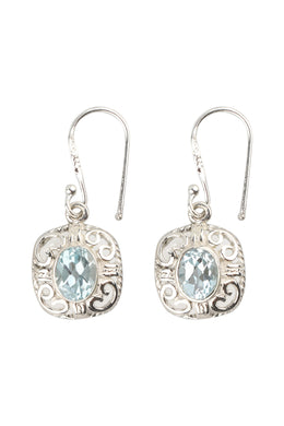 Cushion Gemstone Swirl Frame Silver Earrings