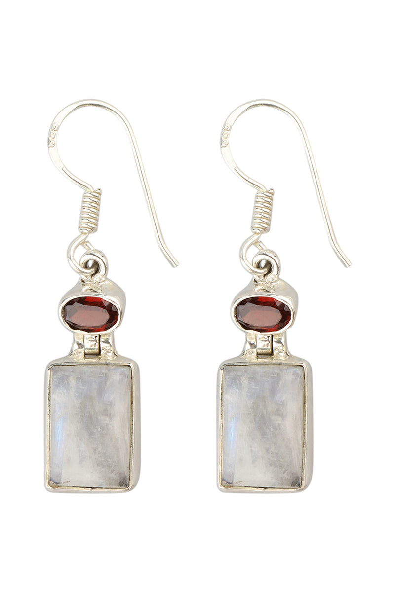 Oval & Square Silver Earrings