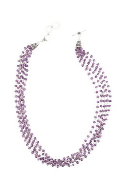Fine Gems Layered Linked Silver Necklace