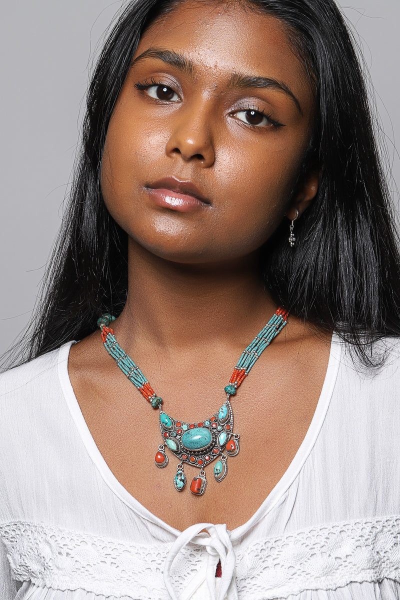 Tribal Vintage Statement Turquoise Silver Necklace