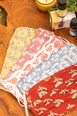 Set of 5 Hand Block Printed Face Masks