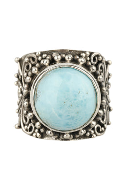 Raised Larimar Filigree Silver Ring