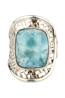 Larimar Open Basket Weave Silver Ring