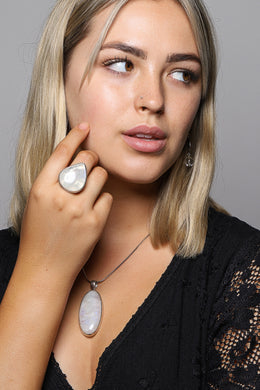 Assorted Large Moonstone Silver Ring