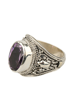 Faceted Amethyst Filigree Silver Ring
