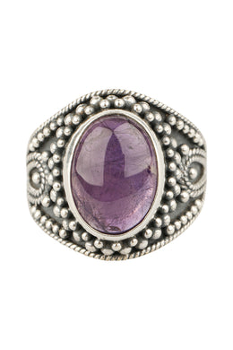 Large Amethyst Tribal Silver Ring