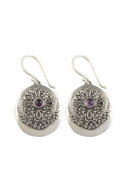 Amethyst Tribal Disc Silver Earrings