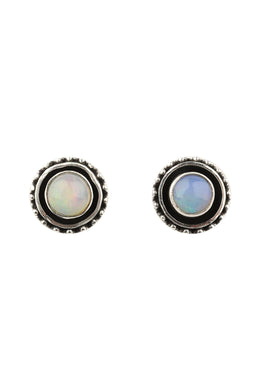 Opal Oxidised Silver Stud Earrings