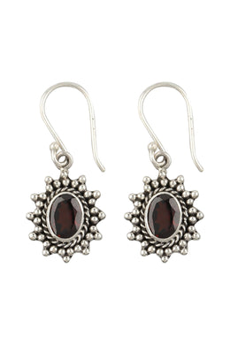 Tribal Burst Garnet Silver Earrings
