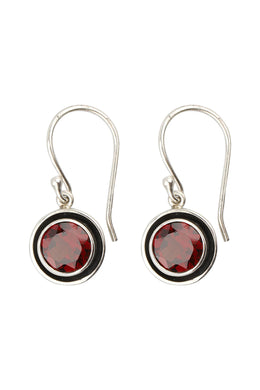 Round Garnet Oxidised Silver Earrings