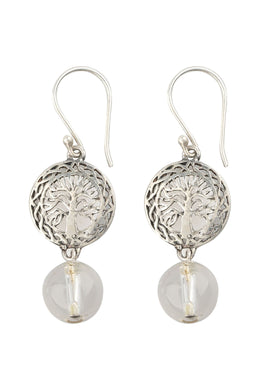 Quartz Tree Of Life Silver Earrings