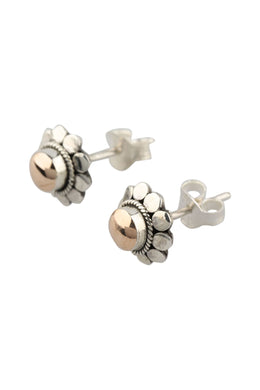Gold Plating Swirl Silver Stud Earrings