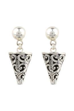 Filigree Cone Droplet Silver Earrings