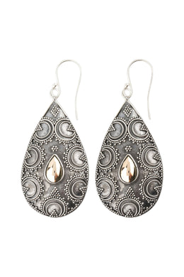 Tribal Shield Silver Earrings with Gold Plating