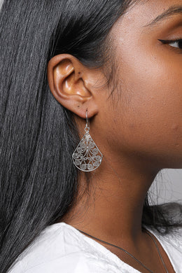 Filigree Fan Silver Earrings