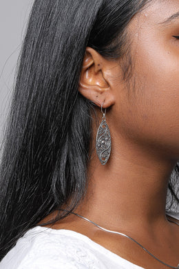Ornate Filigree Swirl Silver Earrings