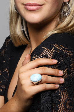 Raised Larimar Swirl Filigree Silver Ring