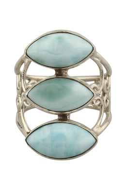 Ring Filigree Triple Marquise Larimar