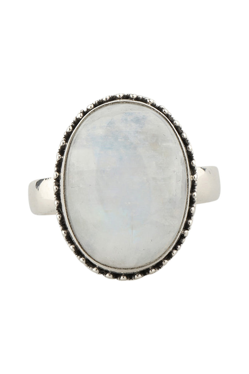 Tribal Oval Rainbow Moonstone Silver Ring