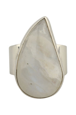 Ring Wide Band Simple Rainbow Moonstone