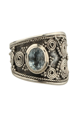Ring Wrap Dot Swirl Blue Topaz