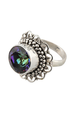 Scallop Edge Mystic Quartz Silver Ring