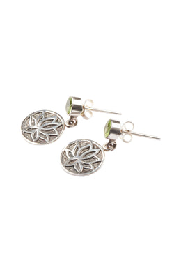 Peridot Lotus Disc Drop Silver Earrings