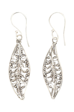 Filigree Leaves Silver Earrings