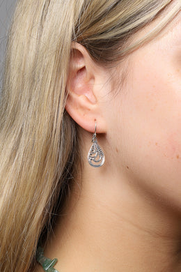 Layered Teardrop Fine Dot Silver Earrings