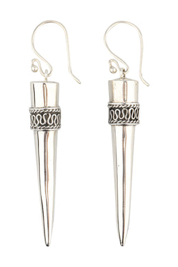 Elongated Swirl Wrap Point Silver Earrings