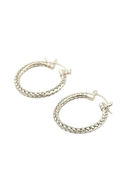 Basket Weave Silver Hoop Earrings