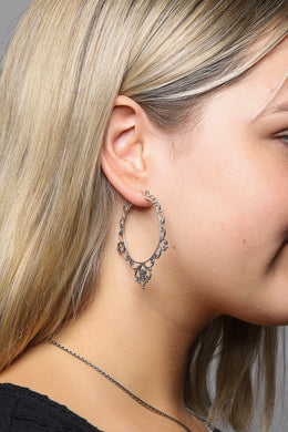 Fine Swirls Silver Hoop Earrings