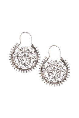 Filigree Inner Point Edge Silver Hoop Earrings